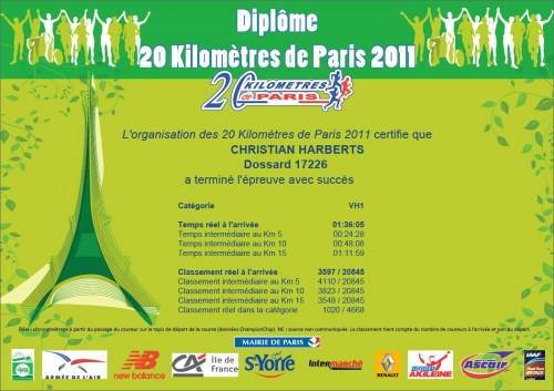 20 kilomètres de Paris 2011 pieds nus - Diplôme Finisher