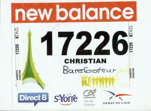 Dossard 20K Paris 2011 Christian Barefooteur
