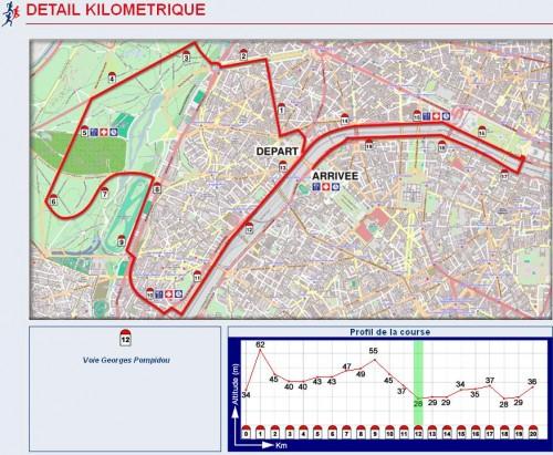 20 kilomètres de Paris 2011 pieds nus - Parcours