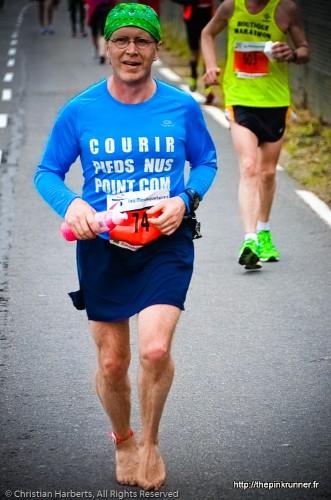 Marathon de Sénart 2013 pieds nus Christian Harberts