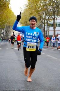 Semi-marathon Boulogne-Billancourt 2013 pieds nus Christian Har