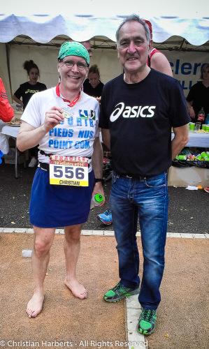 Christian Harberts avec Charly Hiblot, ancien président du Marathon de Seine-Eure