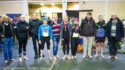 Charleroi 15km pieds nus - 24 avril 2016 avec des membres de la BRS France, Belgique, et le RIB - g-d - Luc, Hervé (RV), Christian P, moi, Petit Pied, Bert (Dancesthedirt), Sydoky, Jaxx, Runner Lambda, Patpiedsnu