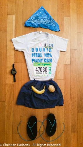 """Christian Harberts - Marathon de Paris 2016 pieds nus - voici les sandales de course, dites """"huarache"""". Non, ce ne sont pas des tongs !"""