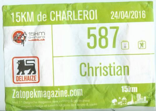 Dossard 15 km de Charleroi